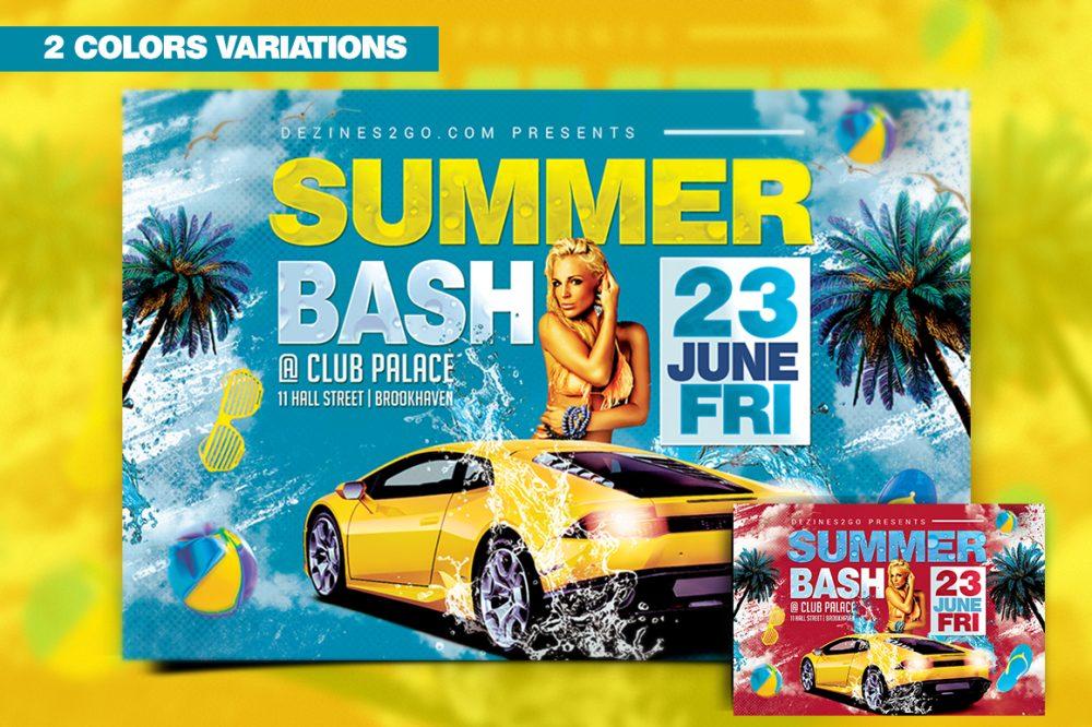 Summer Bash Flyer Template Clubs & Parties psd photohop