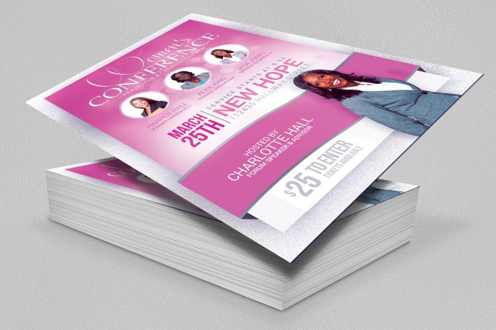 Women's Conference Flyer Template, Pink Church Flyer psd photohop