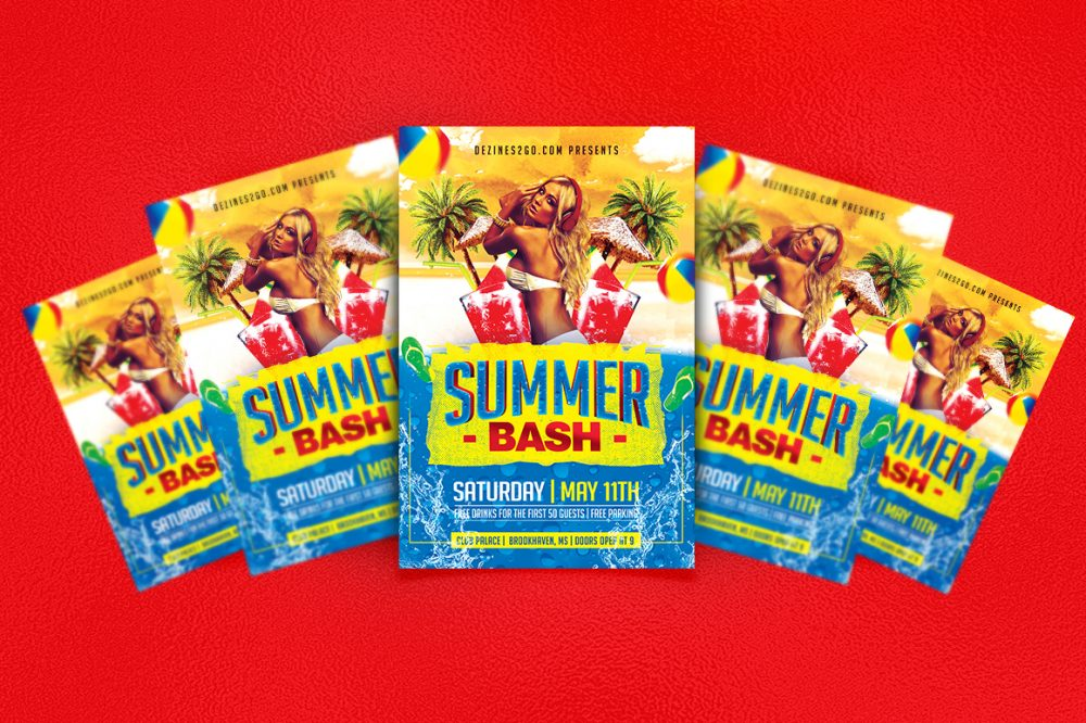 Summer Spring Flyer Party Template Clubs & Parties psd photohop