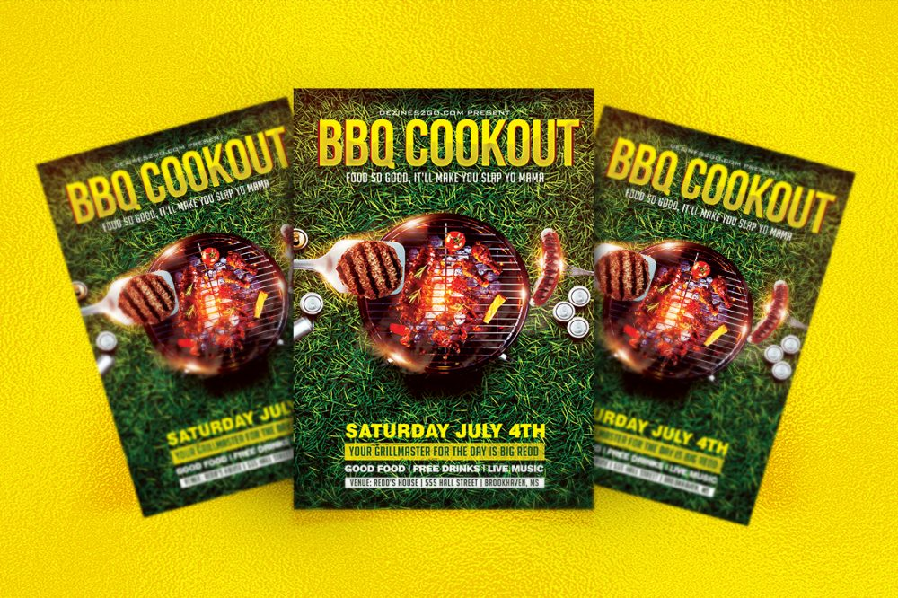 BBQ & GRILLING COOKOUT FLYER TEMPLATE Clubs & Parties psd photohop