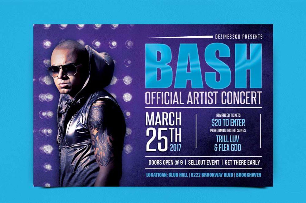 BASH Artist and Dj Flyer Template Artist/DJ psd photohop