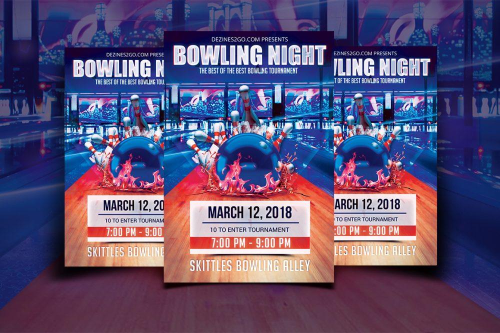 Let's Go Bowling Tournament Flyer Design Templates psd photohop
