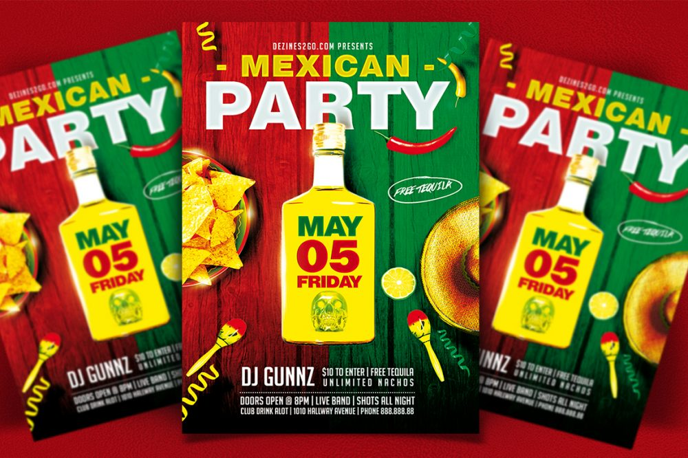 Mexican Party Flyer Template Clubs & Parties psd photohop