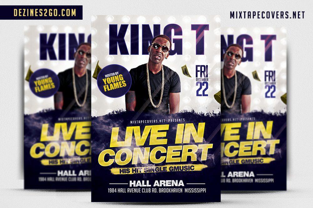 KING T Artist/Dj flyer Template Artist/DJ psd photohop
