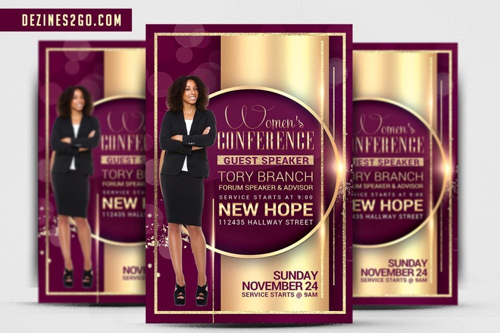 Women Speakers Conference Church Flyer psd photohop