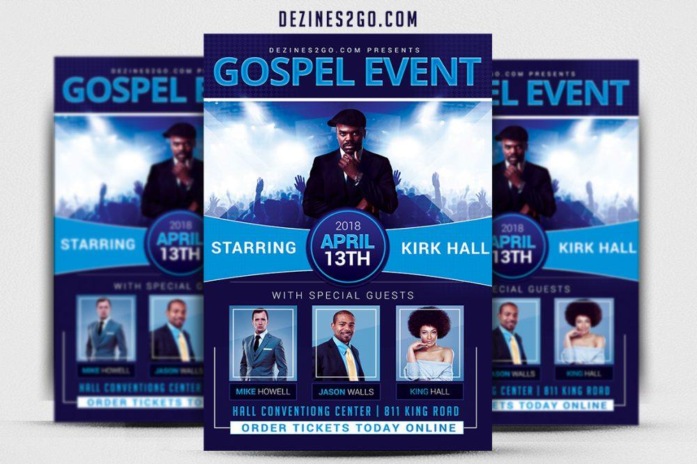 Gospel concert Flyer Template Church Flyer psd photohop