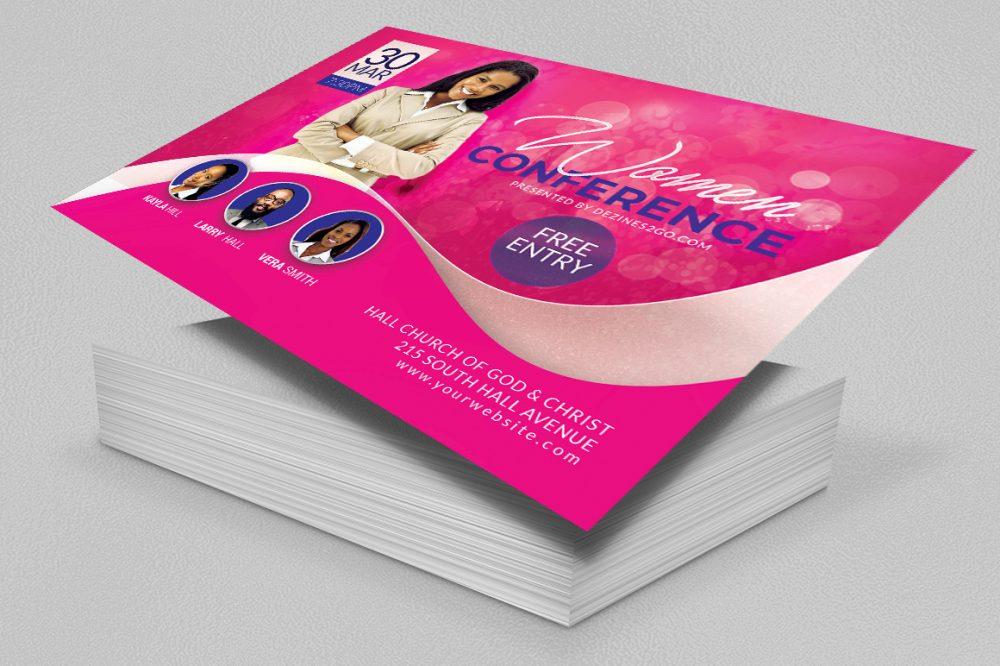 Women's Conference Flyer Template, Pink (Version 3) Church Flyer psd photohop