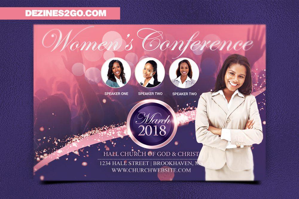Women's Conference Flyer Template, Pink Purple Church Flyer psd photohop