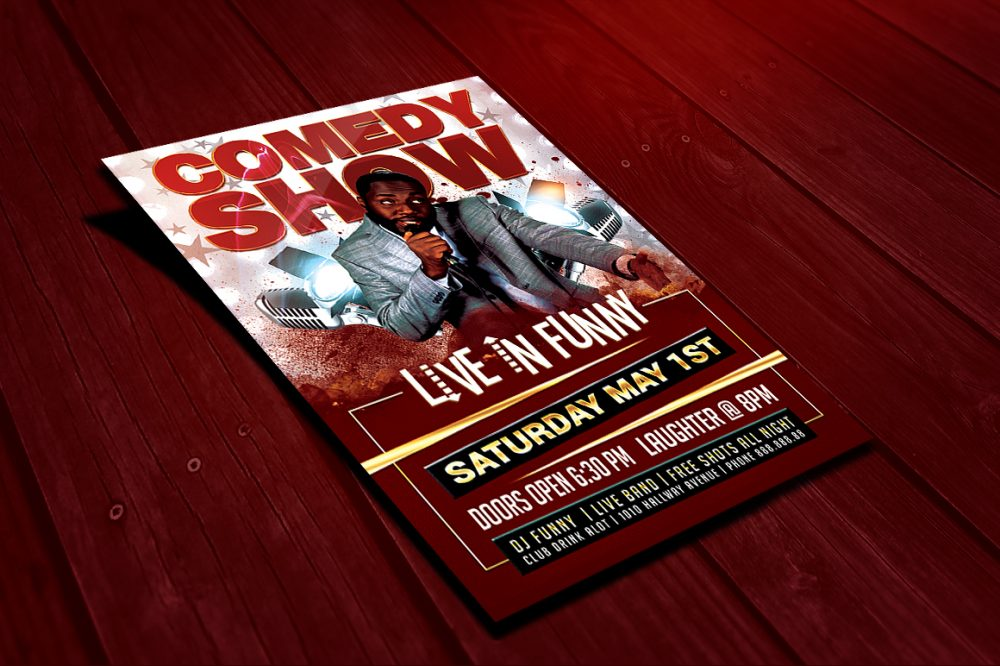 Live in Funny Comedy Show Flyer Clubs & Parties psd photohop