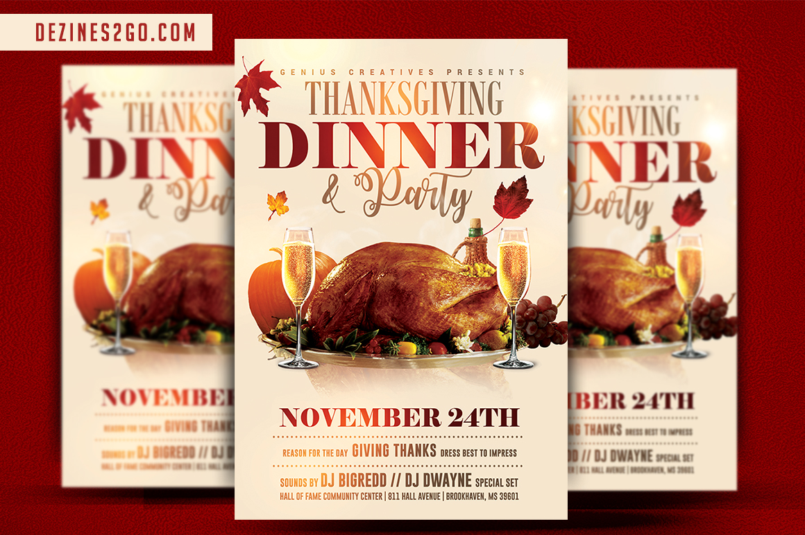 thanksgiving dinner flyer template design, editable in photoshop