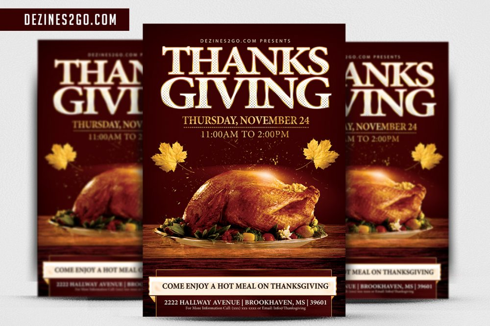 Thanksgiving Holiday Dinner flyer Template