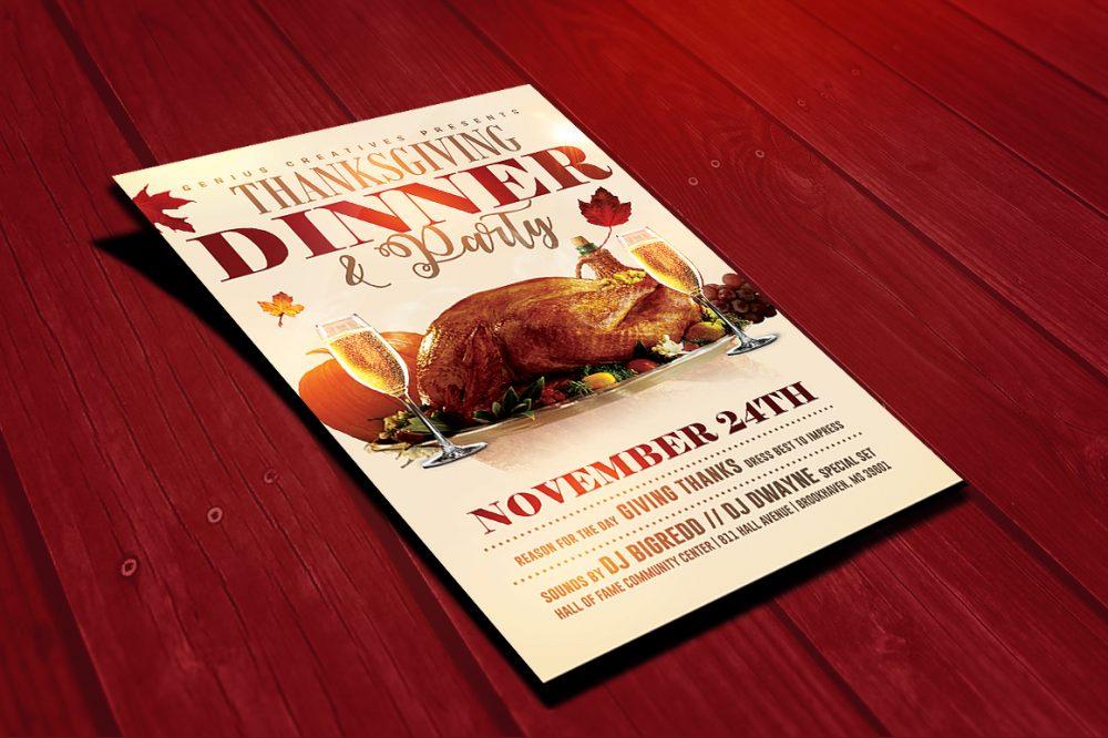 Thanksgiving Dinner Party Flyer Template Design Templates psd photohop